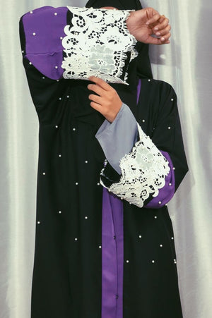 Pearl Studded Black and Purple Open Abaya with White Lace Sleeves and Matching Hijab