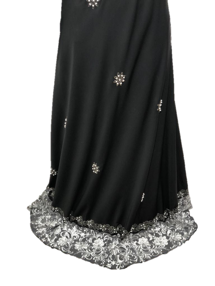 Fancy Black and Silver Flowy Abaya with Lace Sleeves and Beading