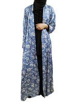 Pale Blue and White Satin Silky Kimono Abaya