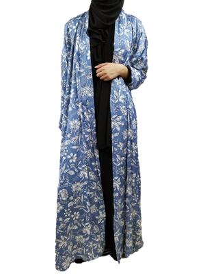 Load image into Gallery viewer, Pale Blue and White Satin Silky Floral Print Kimono