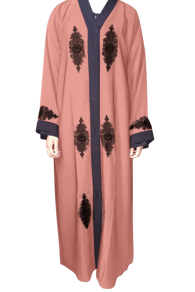 Coral Open Abaya with Rose Lace