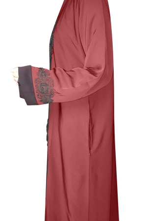 Open Abaya Maroon with Rose Lace