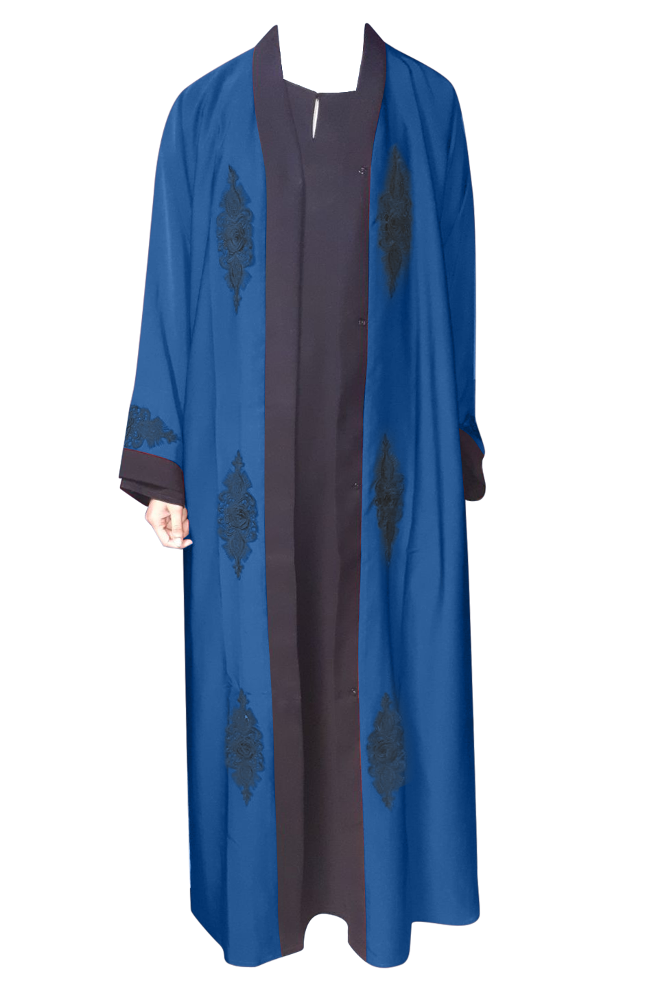Open Abaya Navy Blue with Rose Lace