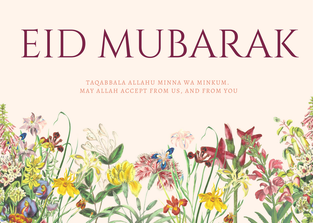 Load image into Gallery viewer, Free Floral Eid Mubarak Card