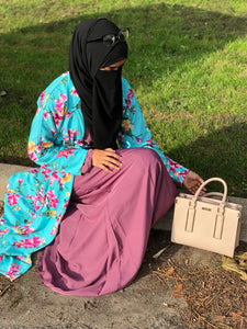 Turquoise Open Floral Abaya with Belt