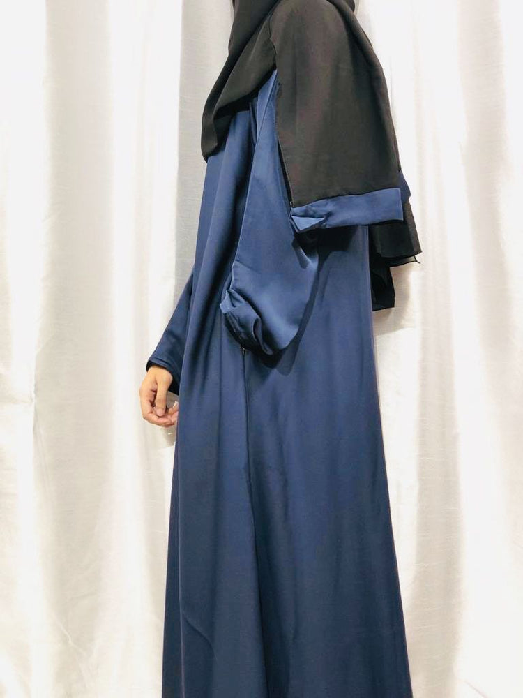 Navy Blue Golden Zipper Abaya with Matching Pockets for Breastfeeding