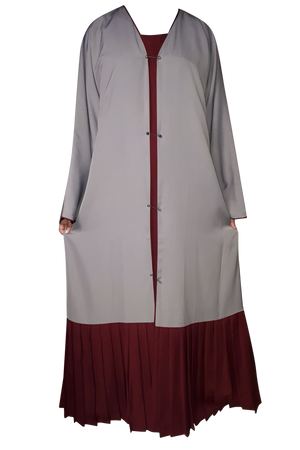 Load image into Gallery viewer, Light Grey on Maroon Double Layer Studded Pin Abaya