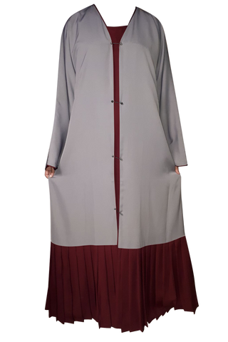 Light Grey on Maroon Double Layer Studded Pin Abaya