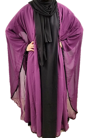 Purple Beaded Kaftan Style Abaya