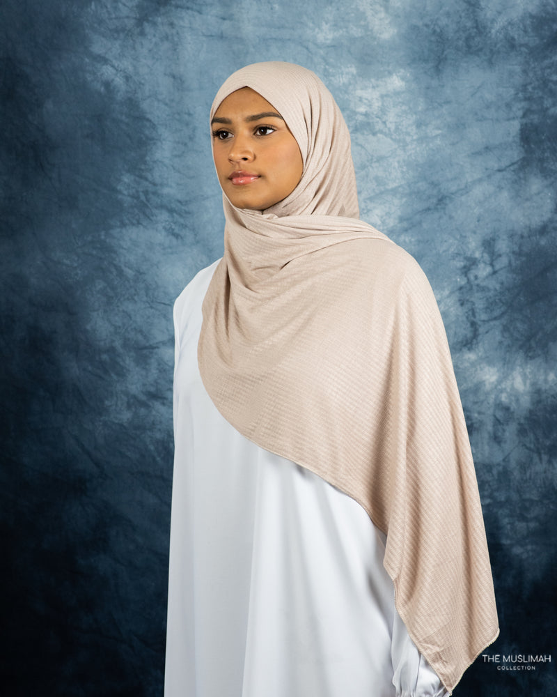 Load image into Gallery viewer, Woven Hijab Natural Pearl