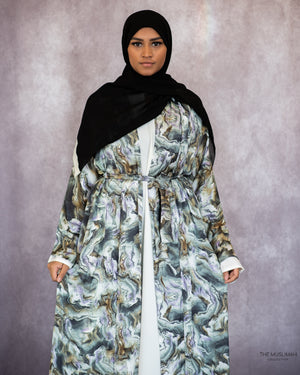 Load image into Gallery viewer, Marble Satin Silky Kimono Abaya