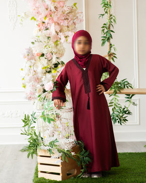 Load image into Gallery viewer, Maroon and Black Stones with Tarboosh Kids Abaya