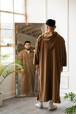 Moroccan Hand Stitched Hoodie Thobe Cappuccino