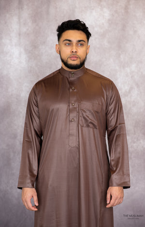 Coffee Brown Saudi Collar Thobe Jubbah