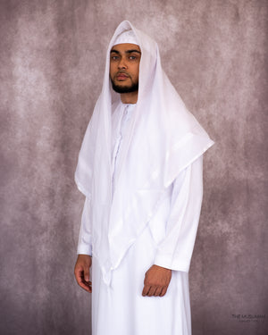 Load image into Gallery viewer, White Imamah/Shemagh/Keffiyyah Arab Men's Scarf