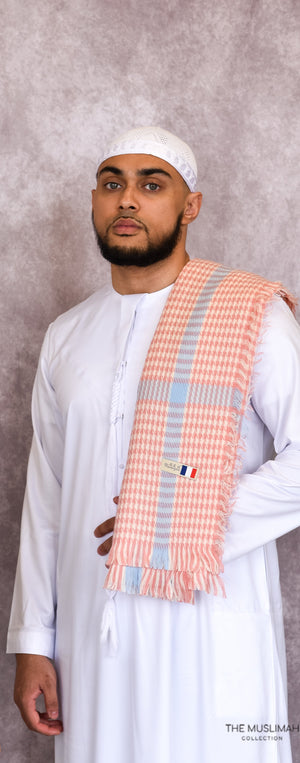 Light Pink Checkered Imamah/Shemagh/Keffiyyah Arab Men's Scarf