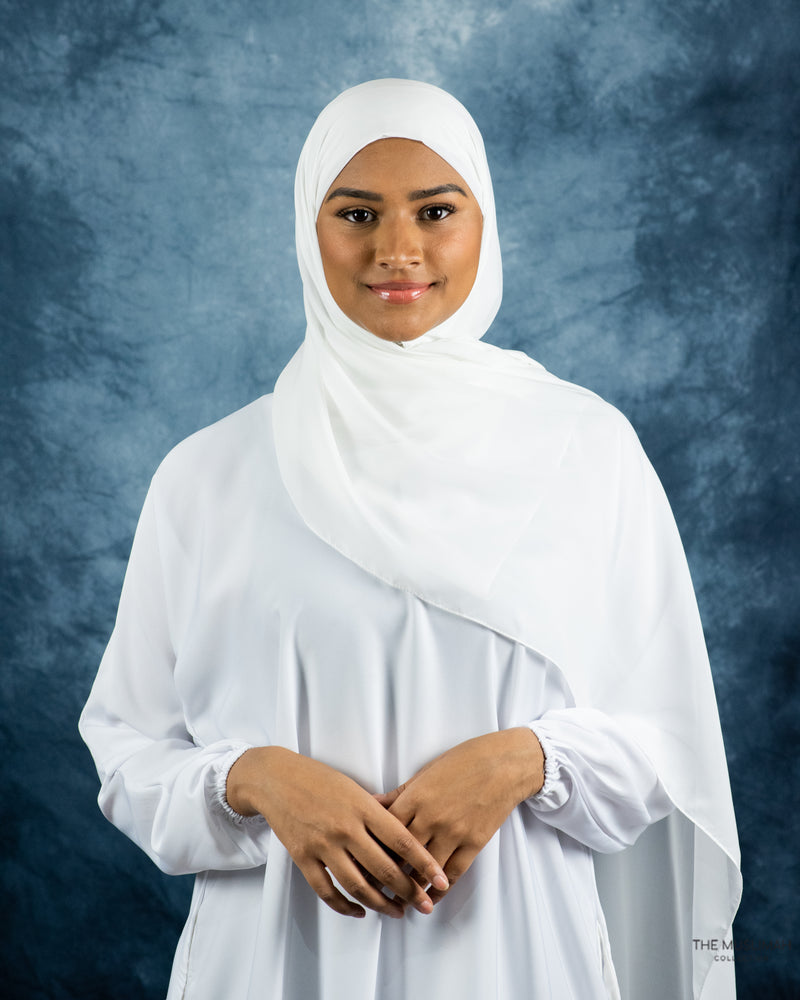Load image into Gallery viewer, White Chiffon Hijab