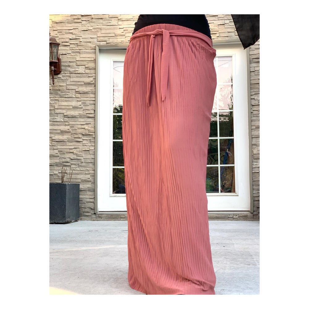 Dusty Pink Chiffon Pleated Skirt with Belt
