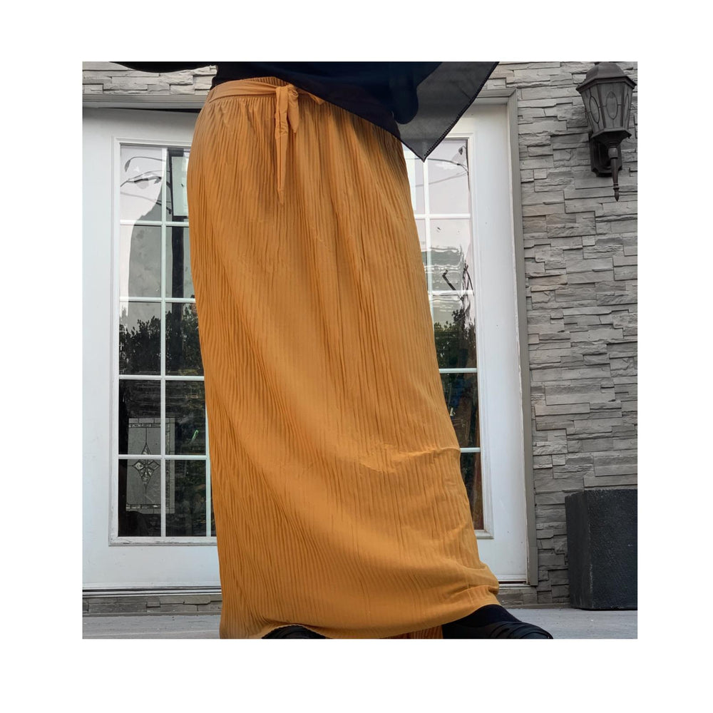 Mustard Yellow Chiffon Pleated Skirt with Belt