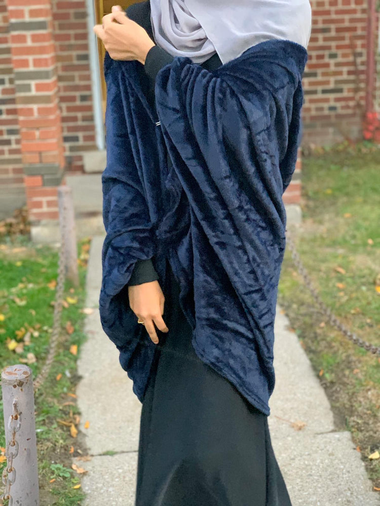 Malikah Regal Velvet Hooded Cardigan in Navy Blue