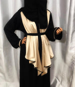 Silky Golden Flared Umbrella Pleats Fancy Abaya