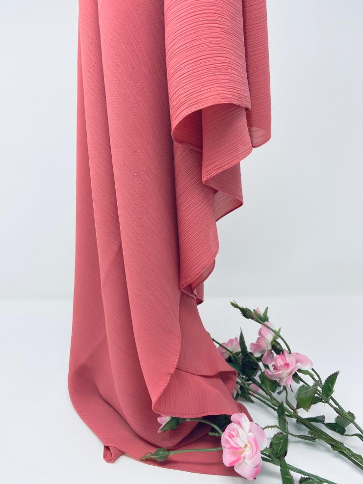 Load image into Gallery viewer, Rose Pink Silk Crinkle Chiffon Hijab