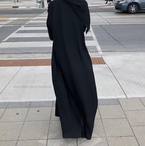 Load image into Gallery viewer, Black Plain Abaya with Zipper Pockets