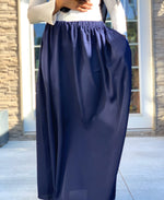 Navy Blue Nida Flowy Skirt with Pocket