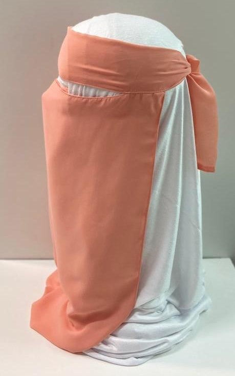 Light Peach Coral One Piece Single Layer Tie Back Niqab