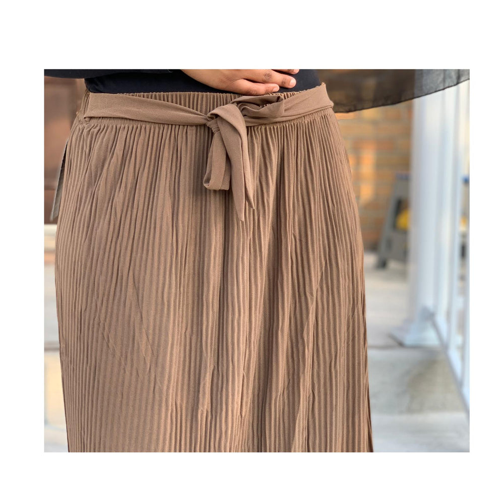 Tan Mocha Chiffon Pleated Skirt with Belt