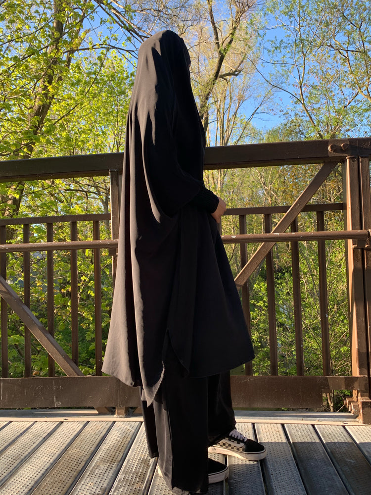 Black Two Piece Ruched Sleeve Jilbaab and Elastic Skirt