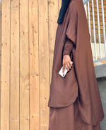Mocha Brown Two Piece Jilbaab with Ruched Design Sleeves and Skirt
