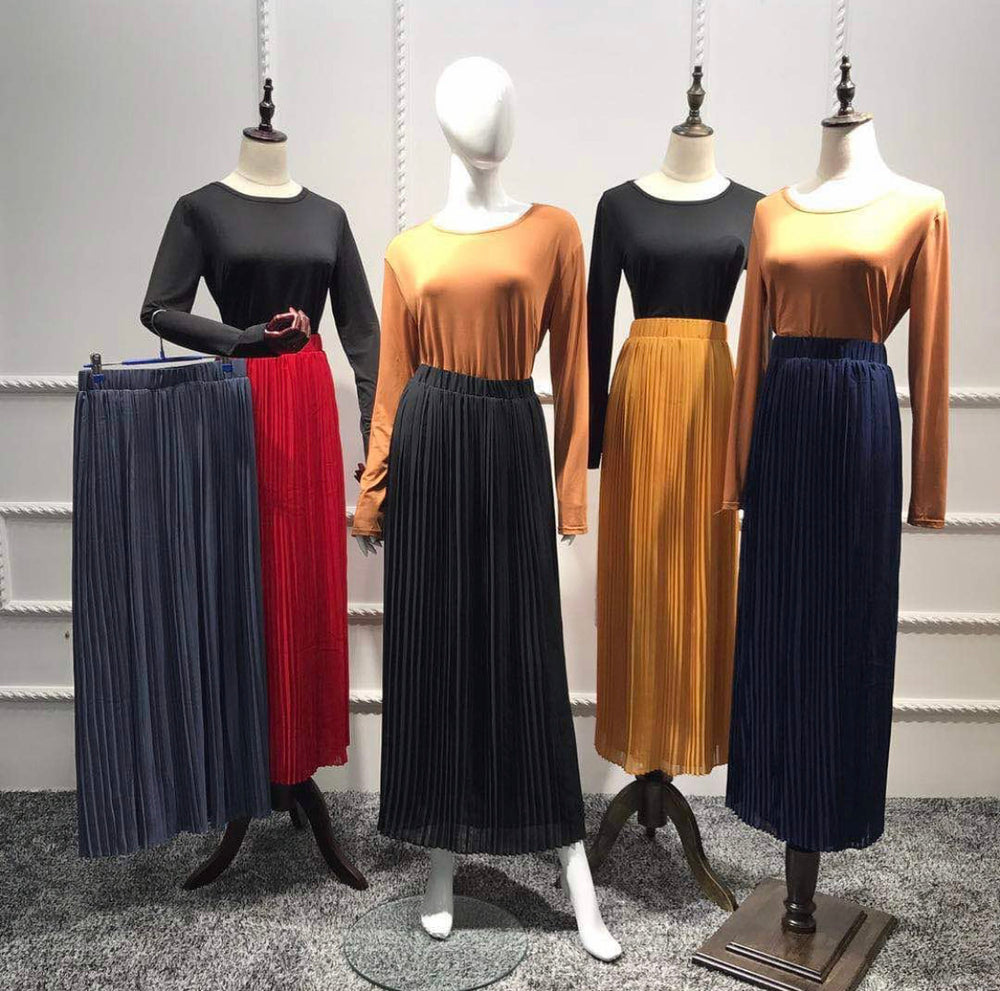 Chiffon Pleated Skirts with Belt