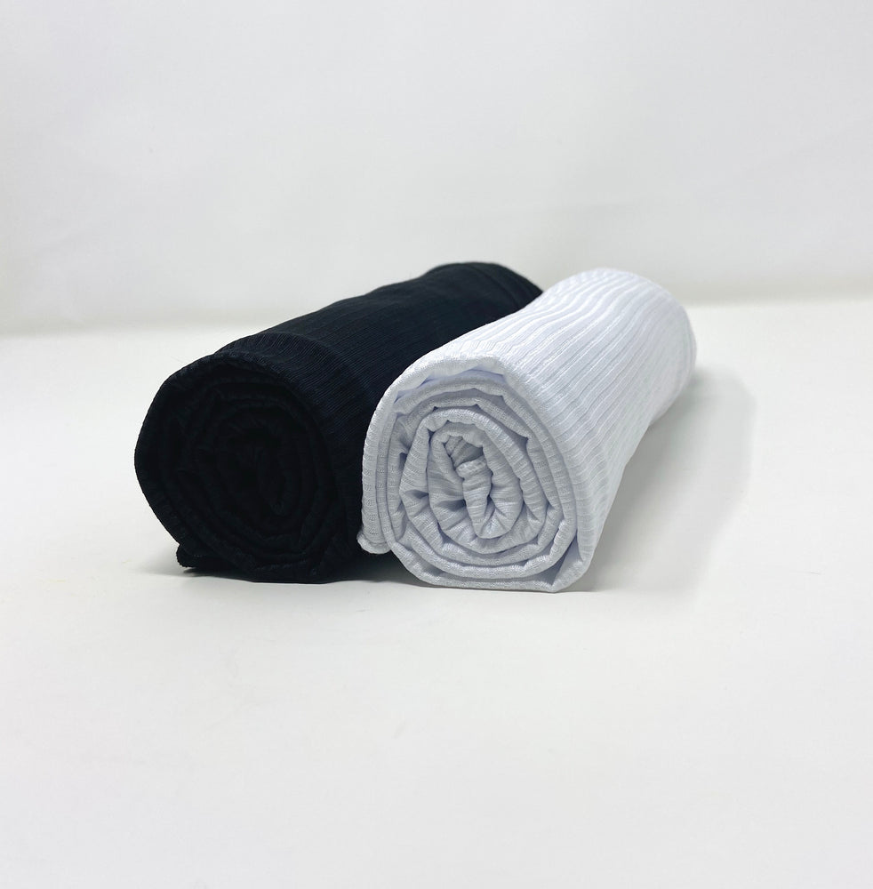 Ribbed Jersey Hijab Bundle Set 2 for $20: Black and White
