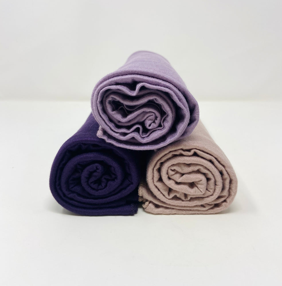 Jersey Hijab Bundle Set 3 for $30: Eggplant Purple, Parisian Purple, Light Mink
