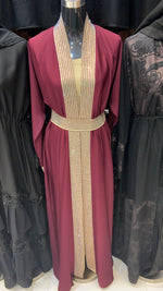 Maroon Two Toned Dubai Nida Celebration Fancy Abaya