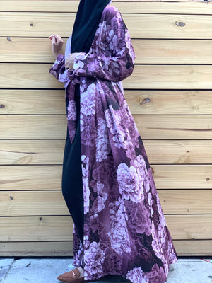 Load image into Gallery viewer, Shades of Purple Satin Silky Kimono Abaya