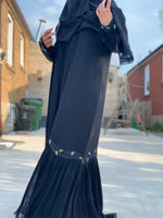 Black Pleated Glitter Leaf Design Abaya with the matching Hijab