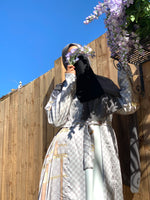 LV Grey and Golden Belt Satin Silky Kimono Abaya