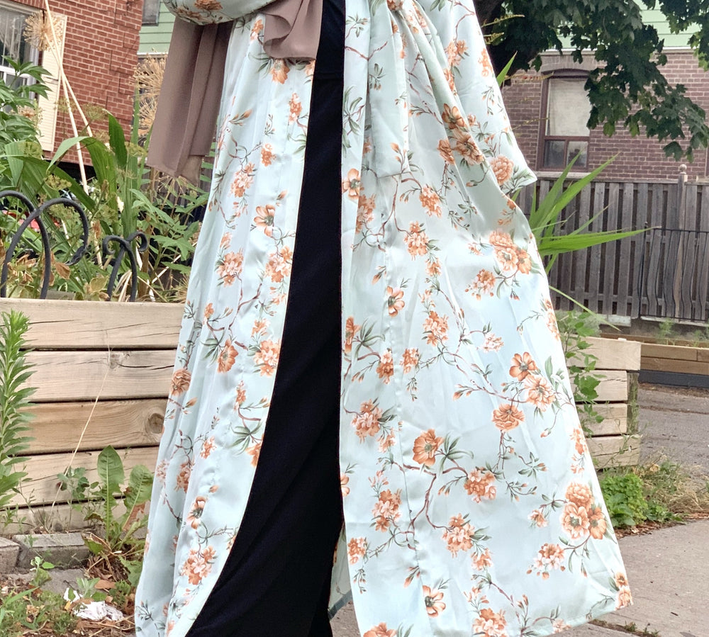 Load image into Gallery viewer, Calm Turquoise Floral Satin Silky Kimono Abaya