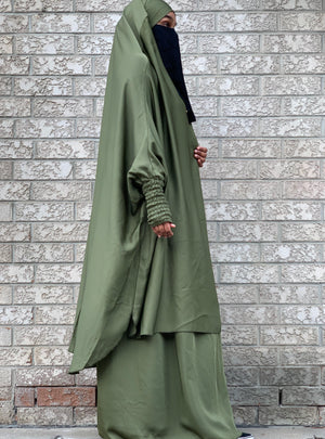 Sage Green Two Piece Jilbaab with Ruched Design Sleeves and Skirt