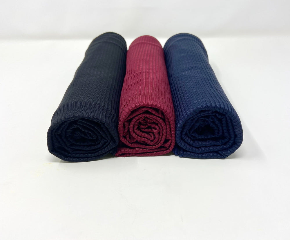 Ribbed Jersey Hijab Bundle Set 3 for $30: Navy Blue, Maroon and Black
