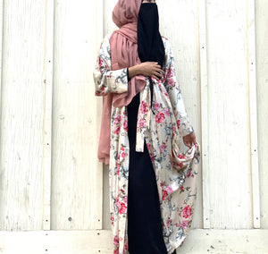 Load image into Gallery viewer, Ivory Garden Satin Silky Kimono Abaya