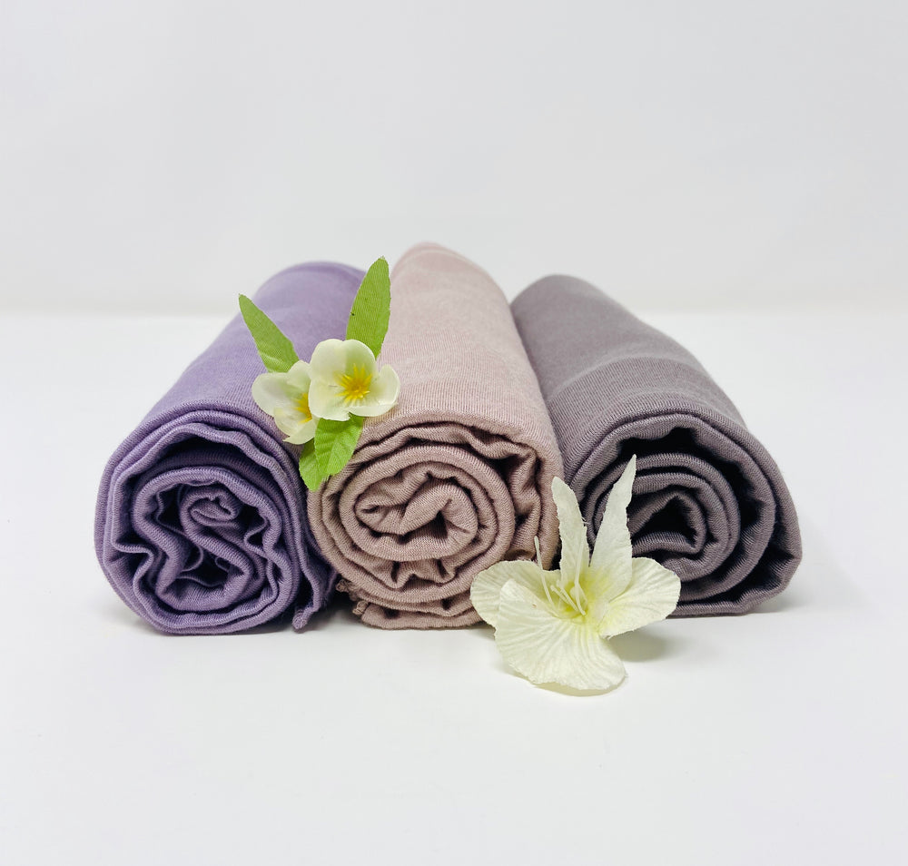 Load image into Gallery viewer, Jersey Hijab Bundle Set 3 for $40: Lavender Purple, Taupe and Light Mink