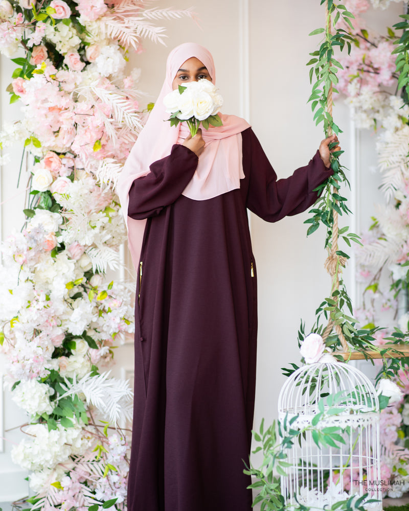 Load image into Gallery viewer, Sawda Textured Crepe Abaya Burgundy