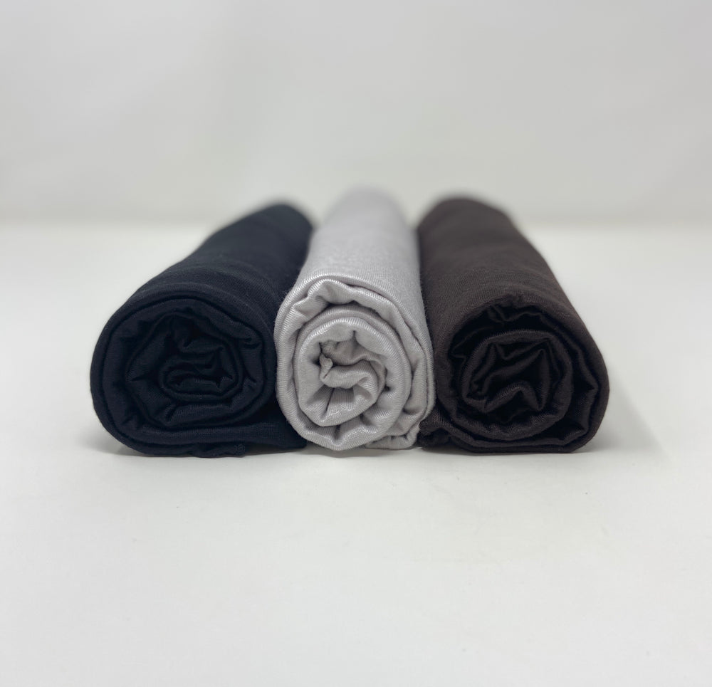 Jersey Hijab Bundle Set 3 for $15: Coffee Brown, Black, and Wolf Grey