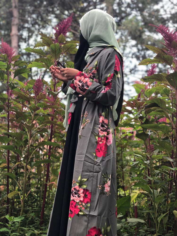 Grey Floral Open Abaya with Teal Hijab