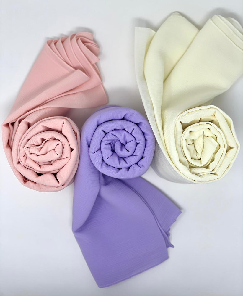 Load image into Gallery viewer, Crinkle Chiffon Pastel Hijab Trio Bundle