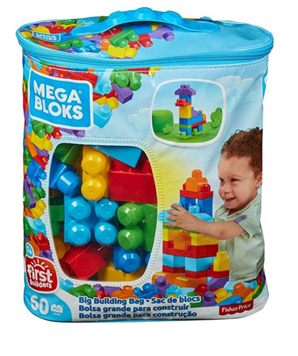 MEGA BLOKS BUILDING BAG 60 PC BLUE