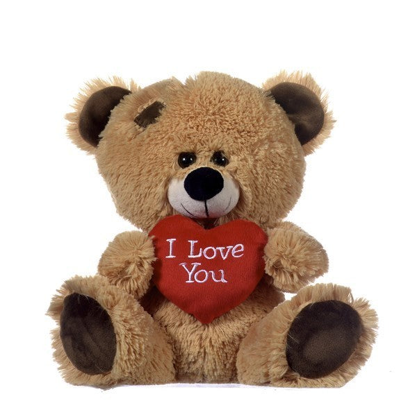10.5IN BROWN BEAR WITH RED HEART